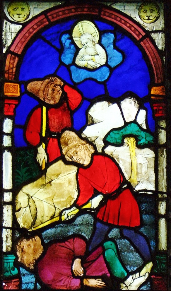 Ulm-Muenster-BessererKapelleFenster-BruderMord_Cain killing Abel