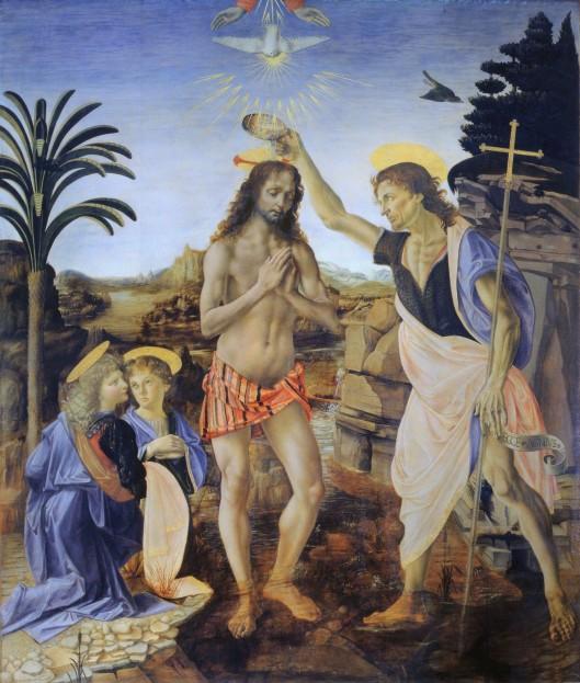 Baptism of Jesus_Verrocchio_Leonardo_da_Vinci