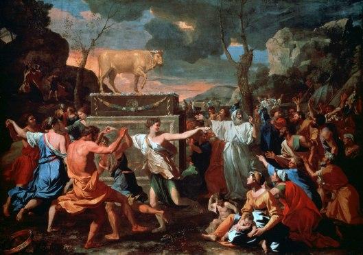 Adoration-of-the-Golden-Calf-canvas-Nicolas-1634